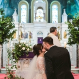 Bride and Groom First Kiss-min
