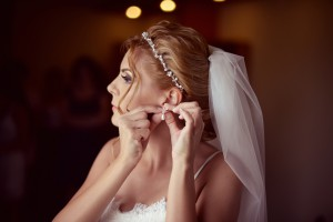 Beautiful bride getting ready for her wedding