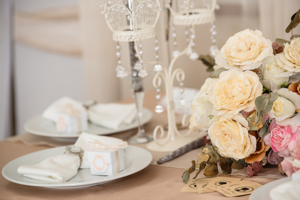 beige wedding served table